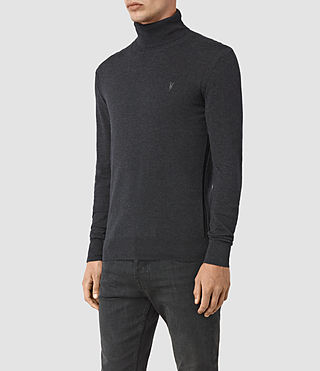 Hombres Rue Roll Neck Jumper (Cinder Black Marl) - product_image_alt_text_3