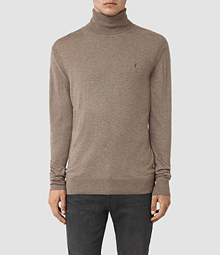 Mens Rue Roll Neck Jumper (Fawn Brown Marl)