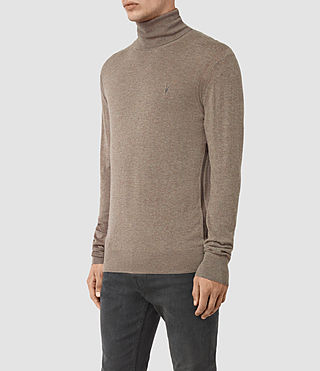 Mens Rue Roll Neck Jumper (Fawn Brown Marl) - product_image_alt_text_3