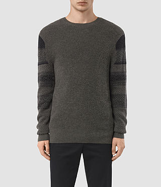 Mens Wyre Crew Sweater (KHAKI GREEN/BLACK)