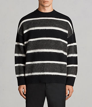Men's Edi Crew Jumper (Black/White) - Image 1