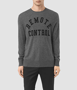 Mens Remote Cashmere Crew Sweater (Charcoal Marl)
