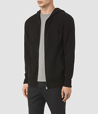 Men's Hiru Cashmere Hoody (Black) - product_image_alt_text_3
