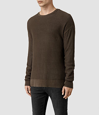 Men's Skomer Crew Jumper (Olive Green) - product_image_alt_text_3