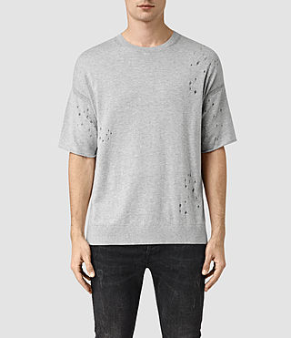Mens Lorakk Knitted T-Shirt (Grey Marl) - product_image_alt_text_1