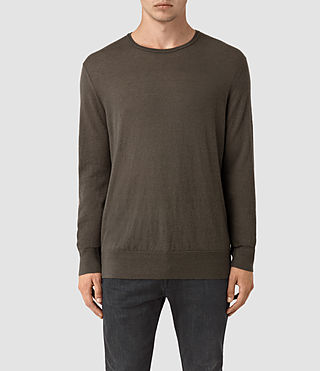 Hommes Riviera Cashmere Crew Jumper (Military Brown)