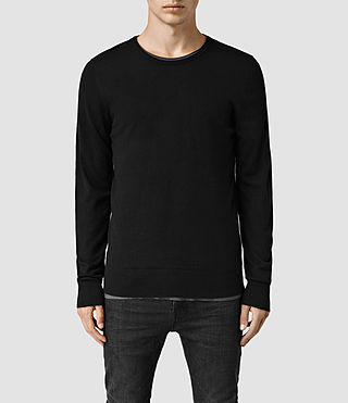 Mens Riviera Cashmere Crew Sweater (Black) - product_image_alt_text_1