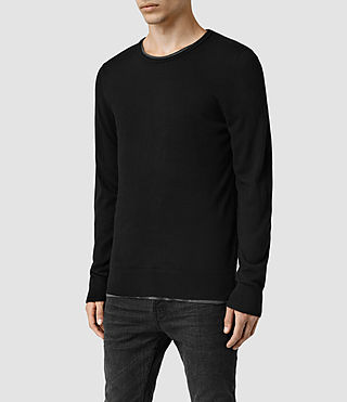 Mens Riviera Cashmere Crew Sweater (Black) - product_image_alt_text_2