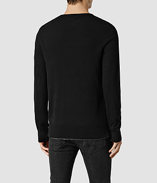 Mens Riviera Cashmere Crew Sweater (Black) - product_image_alt_text_3