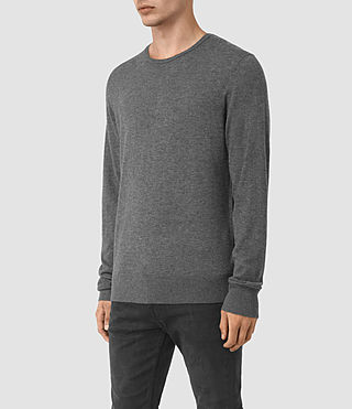 Men's Riviera Cashmere Crew Jumper (Charcoal Marl) - product_image_alt_text_3