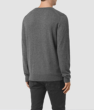 Men's Riviera Cashmere Crew Jumper (Charcoal Marl) - product_image_alt_text_4