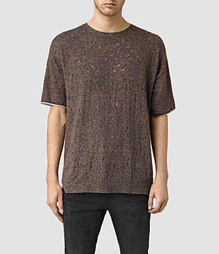 Mens Ferra Knitted T-Shirt (Khaki Green) - product_image_alt_text_1