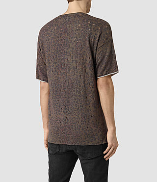 Hommes Ferra Knitted T-Shirt (Khaki Green) - product_image_alt_text_3