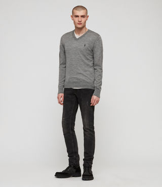 Mens Mode Merino V-neck Sweater (Grey Marl) - product_image_alt_text_1