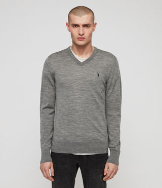 Men's Mode Merino V-neck Jumper (Grey Marl) - product_image_alt_text_2