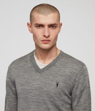 Men's Mode Merino V-neck Jumper (Grey Marl) - Image 3