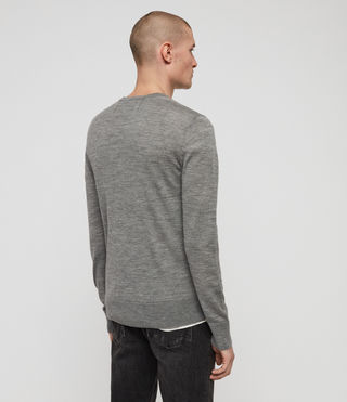 Men's Mode Merino V-neck Jumper (Grey Marl) - Image 4