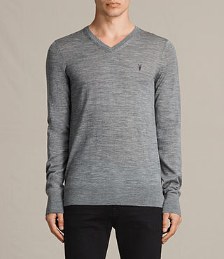 Hommes Mode Merino V Neck Jumper (Smoke Grey Marl)