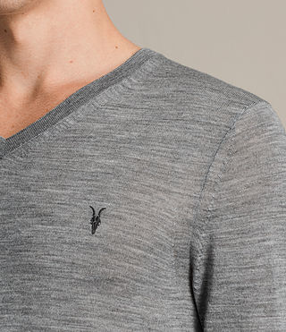 Hombre Mode Merino V Neck Sweater (Smoke Grey Marl) - product_image_alt_text_2