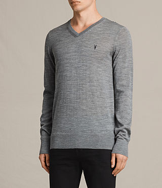 Hommes Mode Merino V Neck Jumper (Smoke Grey Marl) - product_image_alt_text_3