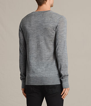 Hommes Mode Merino V Neck Jumper (Smoke Grey Marl) - product_image_alt_text_4