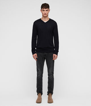 Men's Mode Merino V-neck Jumper (INK NAVY) - product_image_alt_text_3