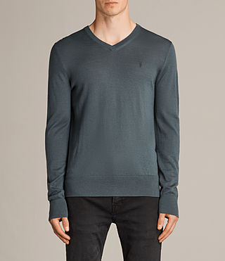 Mens Mode Merino V Neck Sweater (FLINT GREEN) - product_image_alt_text_1