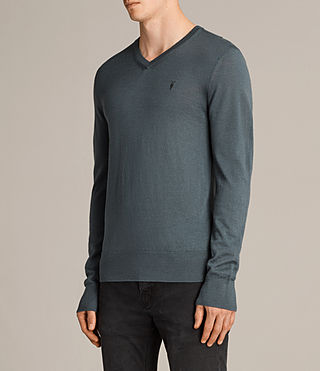 Mens Mode Merino V Neck Sweater (FLINT GREEN) - product_image_alt_text_3
