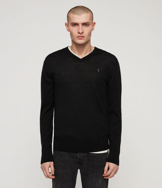 Hommes Mode Merino V-neck Jumper (Black)