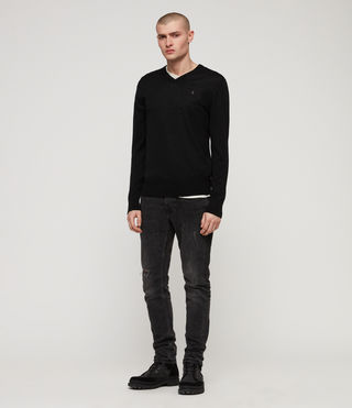 Men's Mode Merino V-neck Jumper (Black) - product_image_alt_text_3