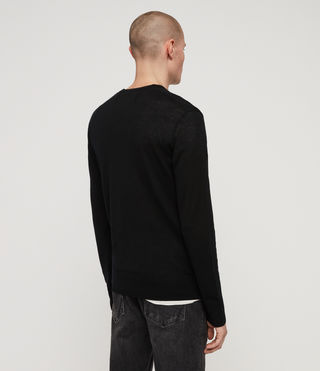 Men's Mode Merino V-neck Jumper (Black) - product_image_alt_text_4