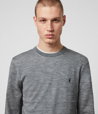 Hommes Mode Merino Crew Jumper (Grey Marl) - product_image_alt_text_2