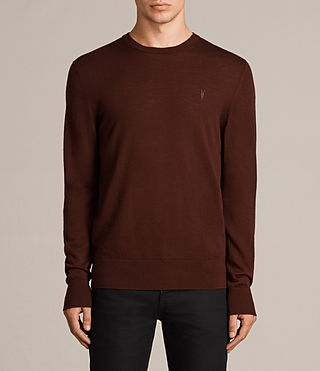 Mens Mode Merino Crew Sweater (BURNT RED) - Image 1