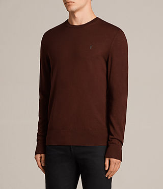 Mens Mode Merino Crew Sweater (BURNT RED) - Image 3