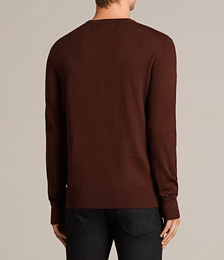 Mens Mode Merino Crew Sweater (BURNT RED) - Image 4