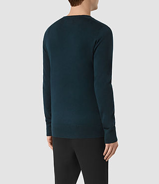 Hombres Mode Merino Crew Jumper (Midnight Blue) - product_image_alt_text_3