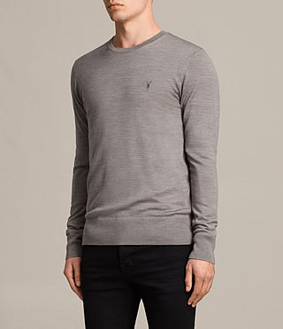 Men's Mode Merino Crew Jumper (PUTTY GREY MARL) - Image 3