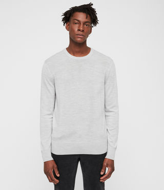 Mens Mode Merino Crew Sweater (LIGHTGREYMARL) - product_image_alt_text_1