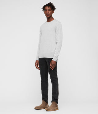 Mens Mode Merino Crew Sweater (LIGHTGREYMARL) - product_image_alt_text_3