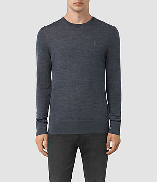 Hombres Mode Merino Crew Jumper (WORKERS BLUE MARL)