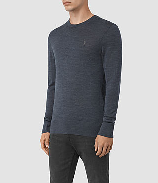 Hommes Mode Merino Crew Jumper (WORKERS BLUE MARL) - product_image_alt_text_3