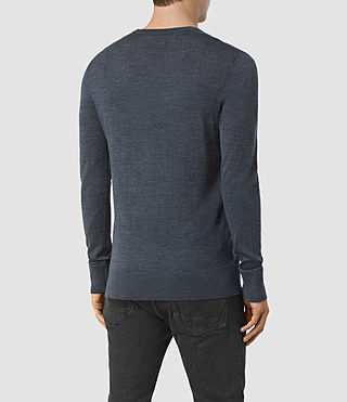 Hommes Mode Merino Crew Jumper (WORKERS BLUE MARL) - product_image_alt_text_4
