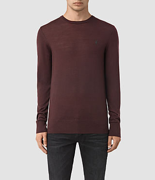 Hommes Mode Merino Crew Jumper (Damson Red)