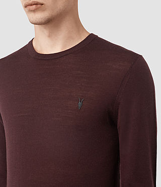 Men's Mode Merino Crew Jumper (Damson Red) - product_image_alt_text_2