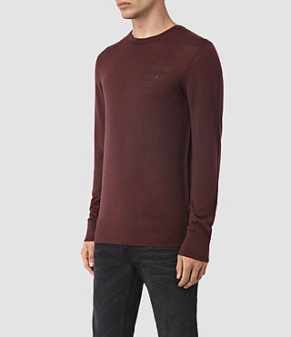 Men's Mode Merino Crew Jumper (Damson Red) - product_image_alt_text_3