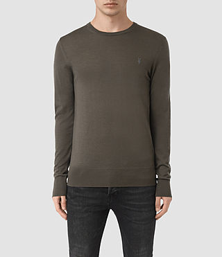 Hombres Mode Merino Crew Jumper (Pewter Brown) -