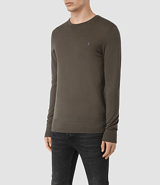 Hommes Mode Merino Crew (Pewter Brown) - product_image_alt_text_3
