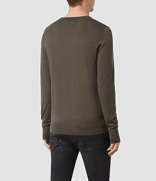 Hombres Mode Merino Crew Jumper (Pewter Brown) - product_image_alt_text_4