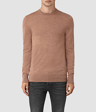 Men's Mode Merino Crew Jumper (FIG PINK MARL)