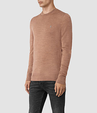 Hombres Mode Merino Crew Jumper (FIG PINK MARL) - product_image_alt_text_3